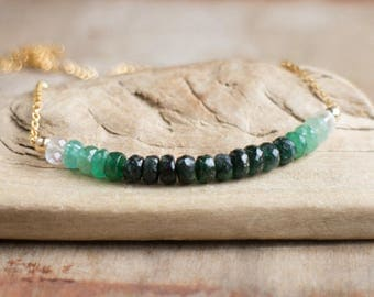Ombre Emerald Necklace, May Birthstone, Emerald Row Necklace, Silver or Gold Emerald Jewellery, Green Ombre Layering Necklace
