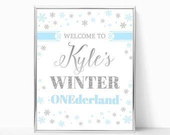Winter ONEderland Welcome Sign Blue And Silver Girl Or Boy Winter Birthday Party Decor Printable Welcome Birthday Poster Snowflakes DIGITAL