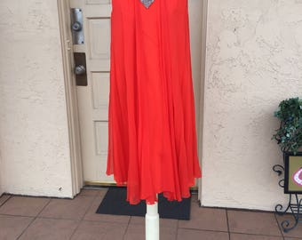 Vintage 1970s Bright Orange Chiffon & Sequin Disco Dress