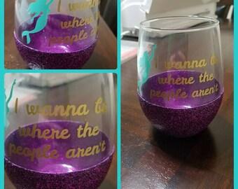 Little Mermaid Stemless Wine Glass