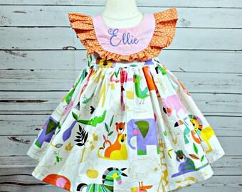 Girls Zoo Animal dress- Toddler Girls Zoo Animal Dress- Jungle animals- Going to the zoo tunic short set- Size 2t, 3t, 4t, 5,6,7,8