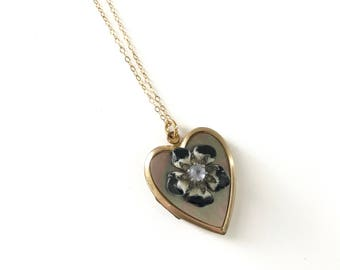 Vintage Gold Filled Heart Locket with Pansy Flower