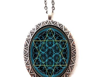 Sacred Geometry Necklace Pendant Trippy Psychedelic - Festival Fashion - EDM Rave Burning Man Electric Daisy Carnival