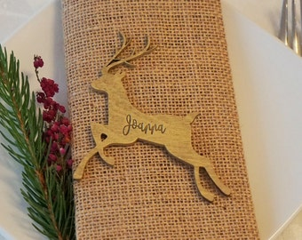 Gold Table Decor Christmas place cards reindeer place cards Christmas table decoration Christmas place settings Christmas Deer place cards