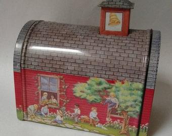 Vintage Country School Tin