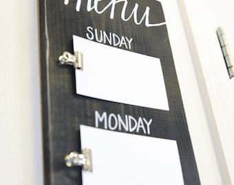 Menu Board, Meal Planning Sign, Weekly Meal Planning, Wooden Menu Board, Rustic Farmhouse Decor, Wall Menu Board - Chalkboard Black