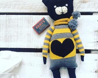 Cat doll / Wollen cat / Cat soft doll / Rag doll /Handmade cat /Ooak doll/ Animal doll / Handmade doll / Primitive rag doll / Cat decor