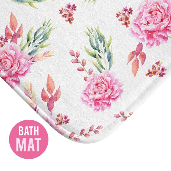 Rose Pink Floral Bath Mat - Available in Two Sizes