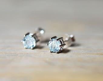 Sky Blue Topaz Stud Earrings - December Birthstone Earrings - Natural Light Blue Topaz Studs - 4mm Sterling Silver Topaz Stud Earrings