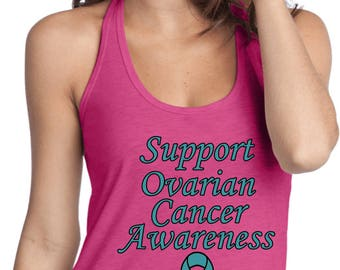 Ladies Support Ovarian Cancer Awareness T-Back Tank Top SOCA-DT250