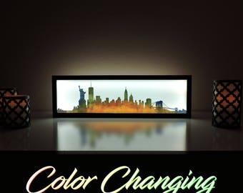 New York Skyline, New York Art, Abstract Skyline Art, City Skyline, Light Up Sign, New York Color Skyline Art, Skyline Wall Art