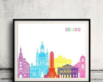 Rosario skyline pop - Fine Art Print Glicee Poster Gift Illustration Pop Art Colorful Landmarks - SKU 2381