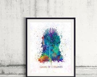 Game of thrones Throne King Fine Art Print Glicee  Poster Watercolor Children's Illustration Wall - SKU2571