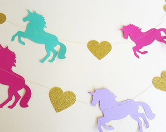 RAINBOW UNICORN Gold Garland - Party, Room Decoration