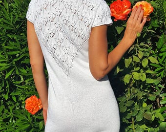 White hand knitted dress, Lace Dress, elegant dress, Linen dress, Summer dress, short fitted dress, linen beach, crochet dress