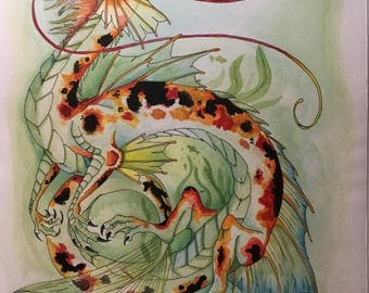 Koi Dragon Original Watercolor Painting