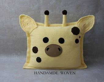 decorative pillows, giraffe pillow, embroidered pillow, pillow covers, baby room decor, name pillow, personalized pillows, baby gift, Art