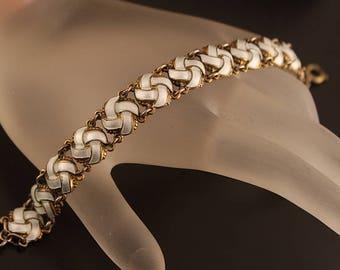 Vintage Infinity Link Bracelet, White Enamel and Sterling Silver Gilt