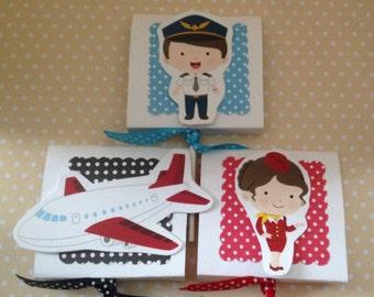 Airline, Pilot, Stewardess, Flight Attendant Party Lollipop Favors - Set of 10