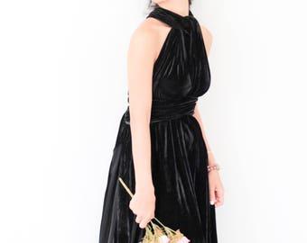Black Velvet Dress, Bridesmaid Dress, Infinity Dress, Prom Dress, Convertible Dress, Wrap Dress, Long Dress, Eveing Dress, Ball Gown