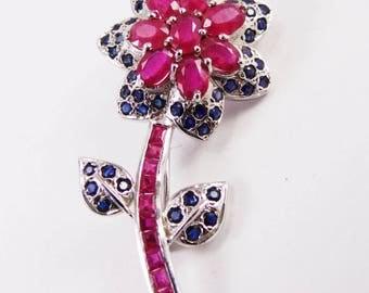 Mesmerizing Ruby stone silver brooch handmade jewelry