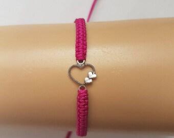 Heart bracelet - heart charm bracelet -  heart charm - heart jewelry - love charm - pink bracelet - love heart - love bracelet - bracelet