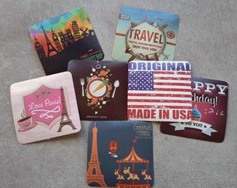 7 pcs, Stickers voyage, Autocollants vintage, Stickers carré, Stickers agenda
