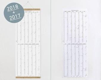 SET: The long wall calendar 2017 + 2018 + poster bar