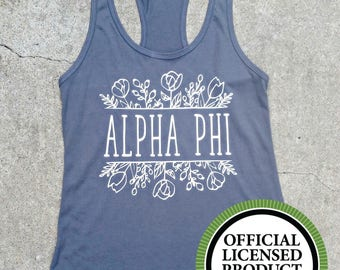 Alpha Phi Sorority Tank Top Gray and White