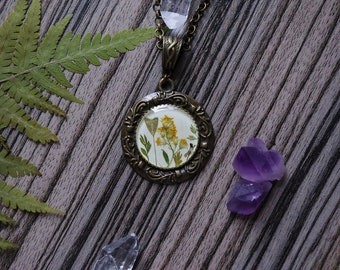 Real Flower Necklace pressed flower jewelry witch jewelry epoxy resin terrarium Necklace resin jewelry flowers in necklace real flowers