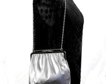 Vintage Silver Evening Bag, New Year's Eve Party Purse, Handbag With Chain Link Strap 1960s