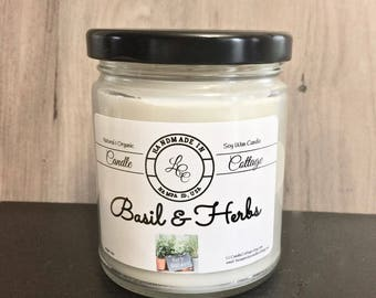 Organic Basil & Herb Soy Candle-Kitchen Candle- Vegan Living- White Candles- Essential Oil Candle- Gift Ideas- Housewarming Gift