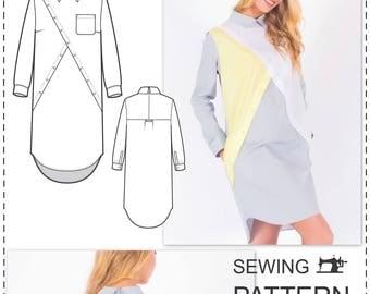 Shirt Dress Pattern - Sewing Patterns - Dress Patterns For Women - Long Sleeve Dress Pattern - Fashion Patterns - Sew Pattern - Sewing Dress