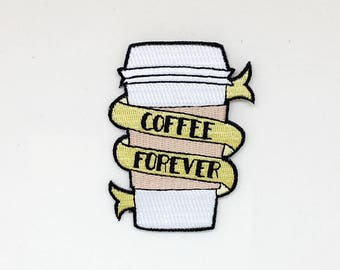 Coffee Patch //  coffee cup patch, morning joe, coffee pin, coffee lover gift, coffee cup, caffeine addict, iron on coffee patch