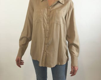 Silk Oatmeal Long Sleeve Button Up with 2 Front Pockets
