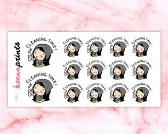A625   Cleaning stickers - Wednesday clean stickers, emotion stickers, planner stickers, wash stickers, chores stickers, eclp stickers
