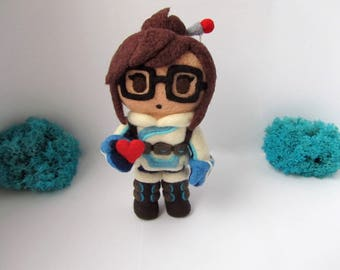 Overwatch Mei Plush Needle Felted Cute Toy Gamer Geek gift chibi videogame figure Valentine's day heart kawaii gift for girlfriend Birthday