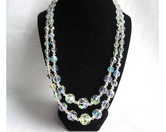 Heavy Double Strand Round Cut Crystal Vintage Necklace with Aurora Borealis Rhinestone End Bars - Estate Jewelry