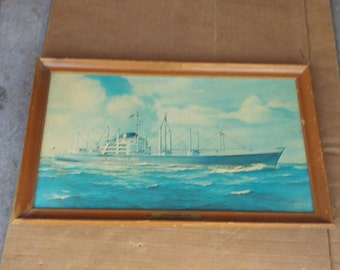 Vintage sailing ship boat picture,moore mccormack constellation class,signed harvey garrett smith