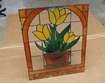 vintage stained glass pane mirror,flower pot vase,suncatcher window display mirror,plant pot decor.