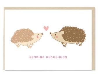 Hedgehog Card - Sending Hedgehugs - Cute Greetings Card - Blank Inside - A6 Card