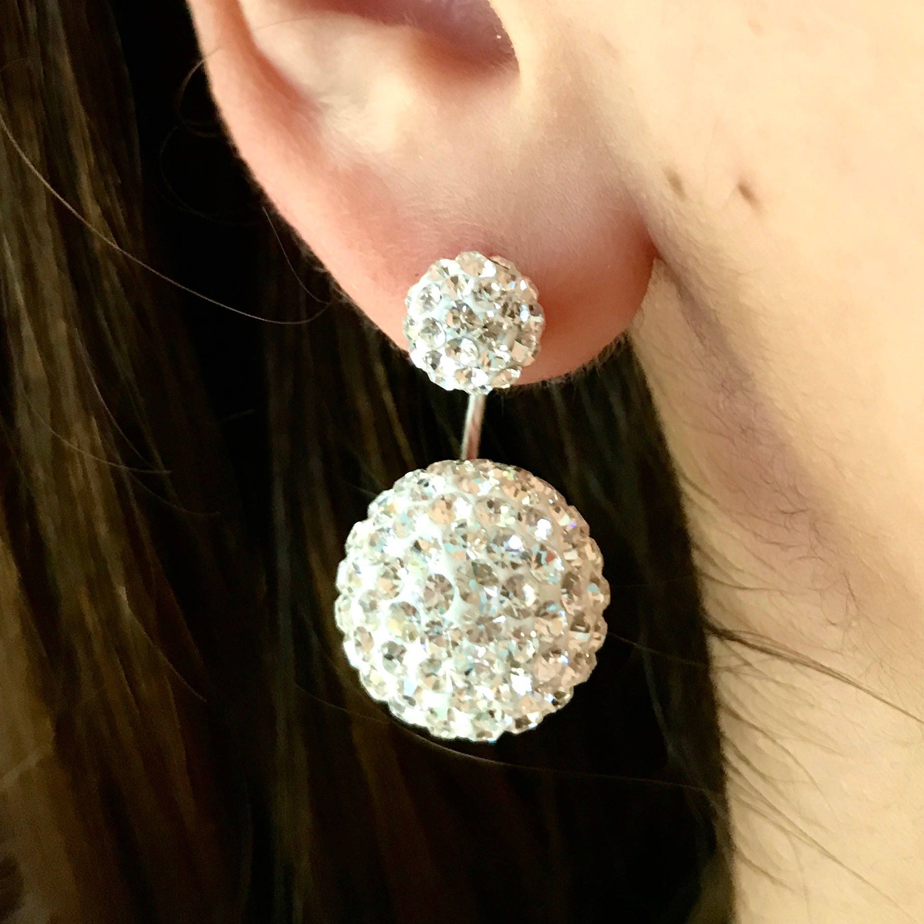 gtwb fullxfull round white il crystal p sterling paved swarovski silver everyday ear earrings stud sparkly ball jackets