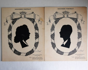 """Vintage Silhouette Portraits Cut by """"Paul"""", America's Nationally Known Silhouette Artist, Circa 1939-40, New York Worlds Fair, H.H. Cook"""