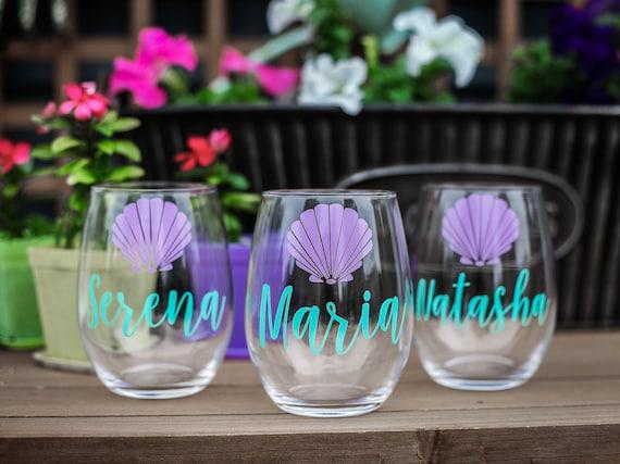 SET OF 7, bridesmaids cups, bachelorette cups, wedding cups, initial wine glasses, custom wine glass, beach wedding, seashell cup, wedding