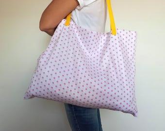 Beach Bag; Diaper Bag; Happy tote; Mommy Bag; Market Bag; Grocery Bag; Shopper; Pink Stars Tote; Pink and Yellow Bag; Book Bag