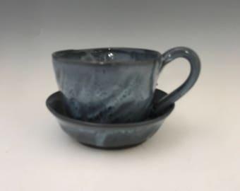 Valentine Farm Blue Coffee Mug or Large Tea Cup - Tea Mug  Hot Chocolate Mug Pottery Mug Earthy Mug Ceramic Black Mug Pottery Mug Unique Mug