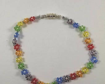 Rainbow Daisy Chain Bracelet, Beaded Rainbow Flower Charm Bracelet, Boho Jewelry, Multicolor Flower Bracelet