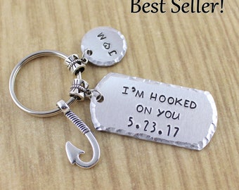 SRA Custom I'm Hooked On You Keychain || Fish Hook Keychain || Fishing Keychain || Fisherman Gift || 5 Star Seller Shop ZASU - 1972 - AIUSA9