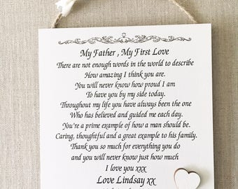 Father of The Bride Wedding Wooden Plaque Personalised Sign Card Gift W206