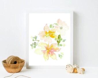 Framed Floral Print - Soft color art, print in frame, watercolor floral, pastel flowers, white framed print,